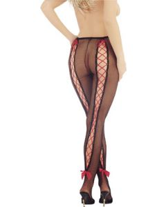 Fishnet Tights With Criss-Cross Red Ribbon